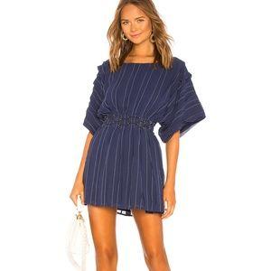 Tularosa Dress Blue White Pinstripe Pleats Waist M
